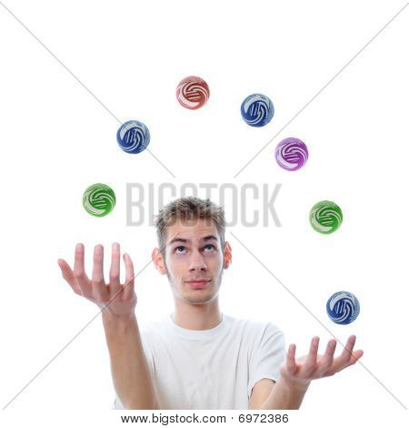 Young Adult Juggling Balls