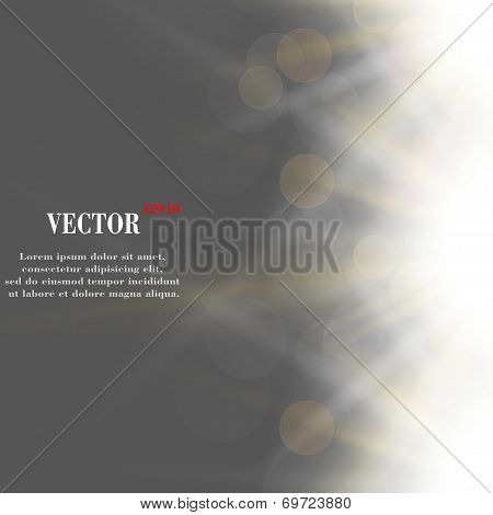 Abstract blurry background with overlying semi transparent circles, light effects and sun burst.