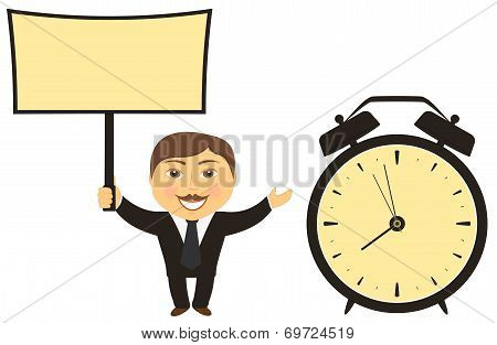 businessman with board in hand and clock