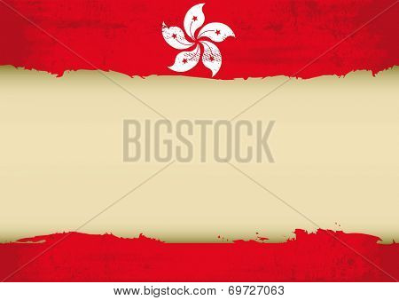 Honk Kong scratched flag. A Honk Kong flag with a large frame for your message. Ideal to use for a screen