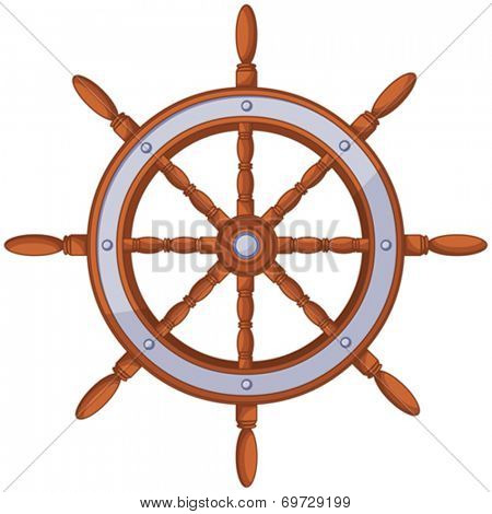 Illustration of ship wood wheel