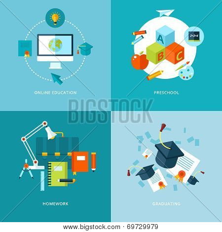Vector school and education icons set.