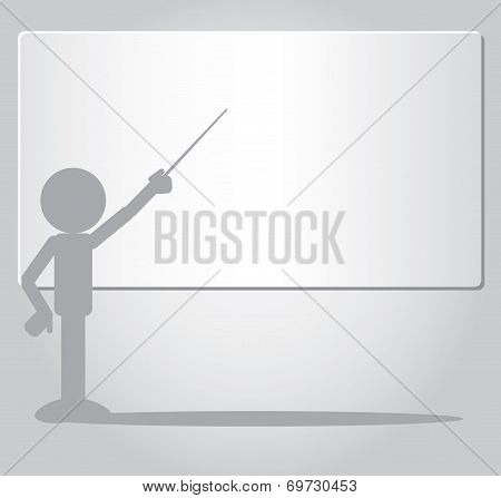 Flat Man Pointing To Whiteboard