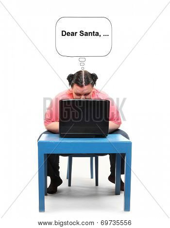 Overweight woman writing email for Santa. Picture with speech bubble for your text.