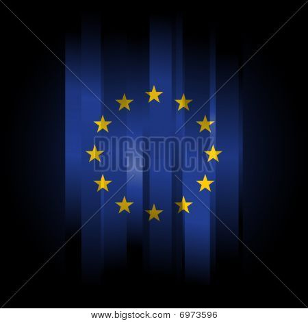 Abstract Europe Union Flag On Black Background