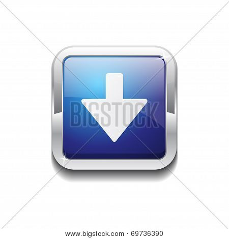 Down Key Rounded Corner Vector Blue Web Icon Button