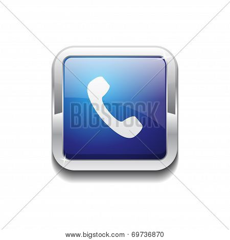 Call Rounded Corner Vector Blue Web Icon Button