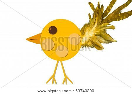 Yellow Chick With Feather Tail