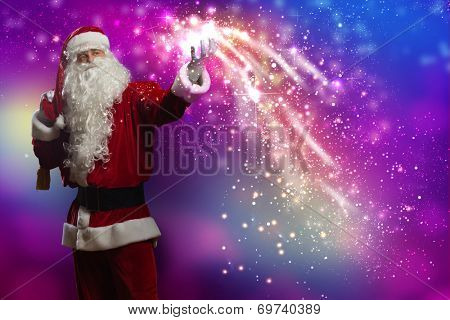 Santa Claus with gift bag behind shoulders