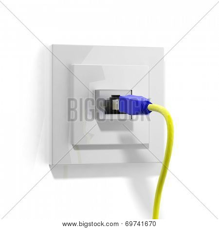 Network plug with cable isolated on white