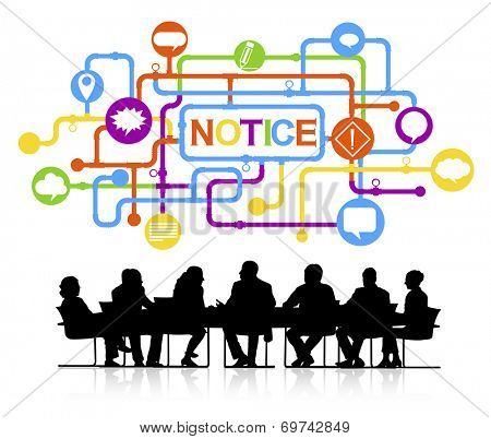 Silhouettes of Business People Talking and Notice Concept