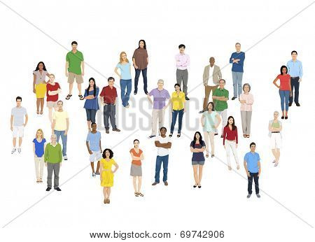 Illustration of Multiethnic People Isolated on White