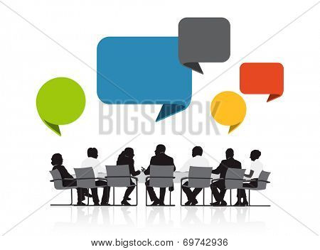 Group of Business People Meeting with Speech Bubble