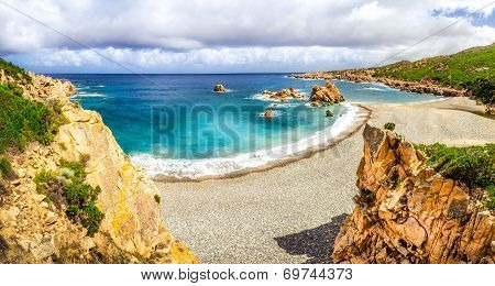 Beautiful Ocean Coastline Panorama In Costa Paradiso, Sardinia