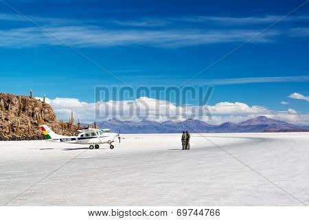 Airplane On Salt Flats