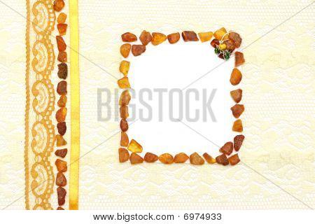 Yellow Background With Cream Silky Decoration Accessories, Lace And Amber With Space For Your Text