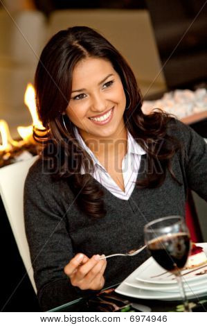 Woman Enjoying Dessert
