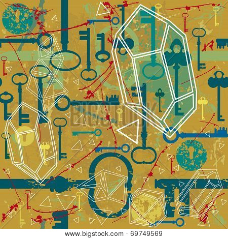 Vintage seamless pattern with  keys and keyholes.