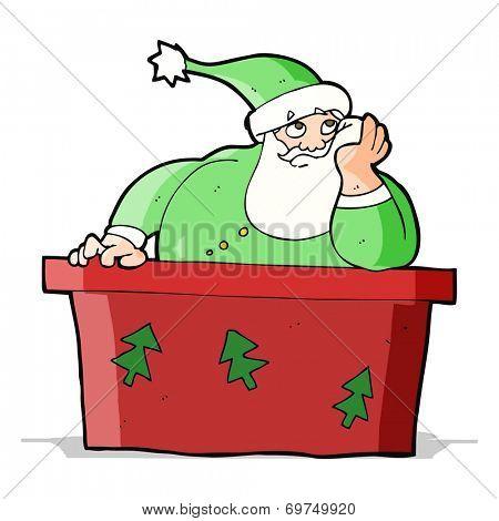 cartoon bored santa claus at desk