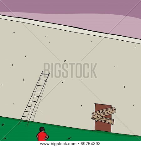 Short Ladder And Blocked Door