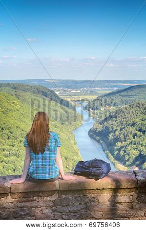 Woman And Mountain River Scenery