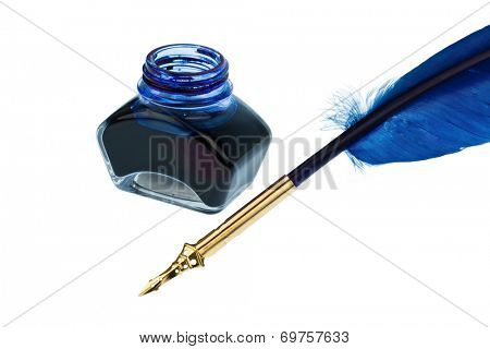 a blue feather pen with an ink bottle on white background