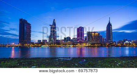 Sunset on the Saigon river and city center