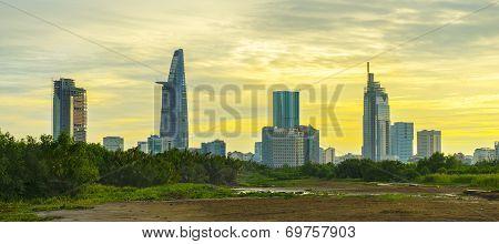 Sunset on the Saigon river and city center