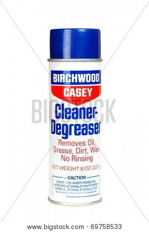 Hayward, CA - August 7, 2014: Can of Birchwood Casey Cleaner-Degreaser gun cleaner