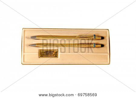 Hayward, CA - August 7, 2014:  Gold Cross pen and pencil set with custom logo for Ampex  in presentation case