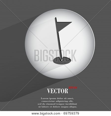 hole golf course. Flat modern web button with long shadow and space for your text