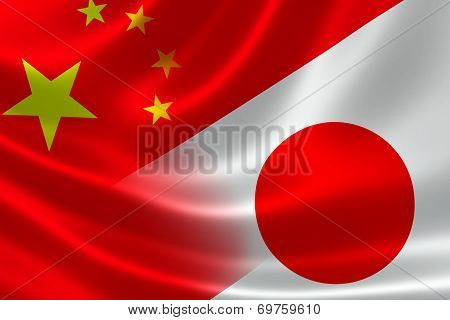 Merged Flag Of China And Japan