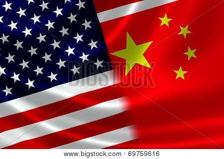 Merged Flag Of China And Usa