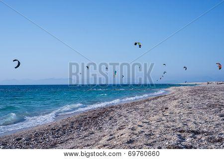 Kitesurfers On The Beach In Greece