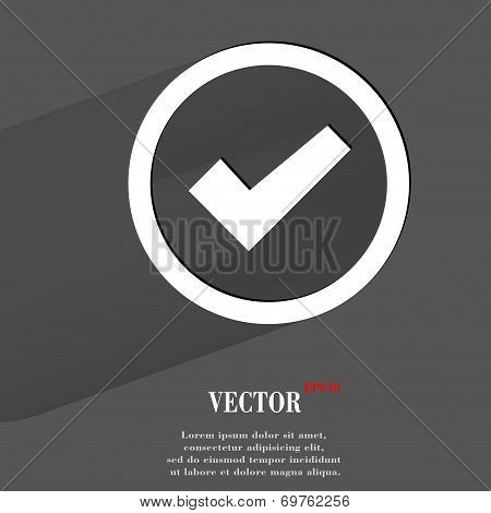 check mark. Flat modern web button with long shadow and space for your text.