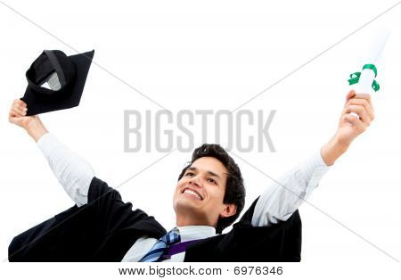 Excited Male Graduate