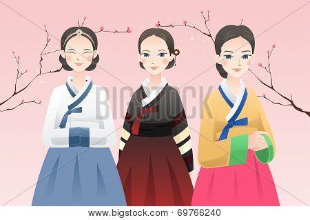 Women Wearing Traditional Korean Outfit