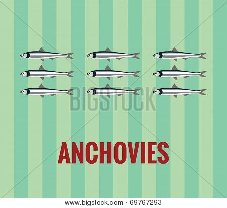 Anchovies drawing on green background.
