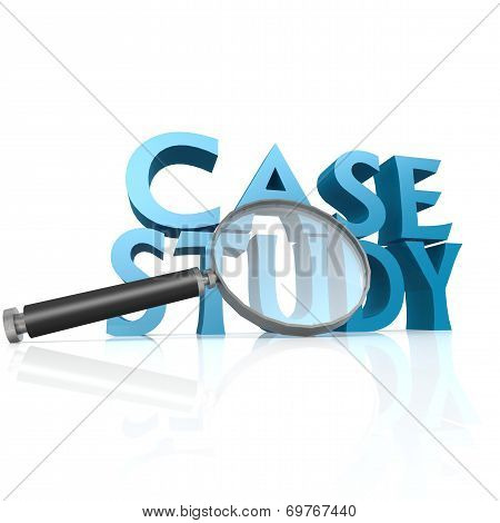 Magnifying Glass With Blue Case Study Word