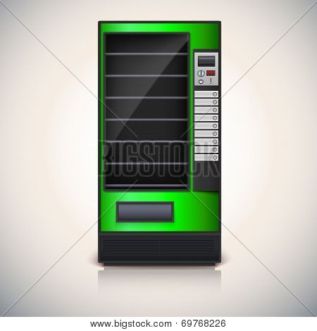 Vending Machine with shelves, green coloor.