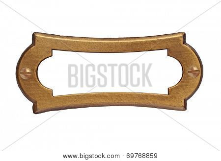 vintage brass name plate over white, clipping path, space for your text