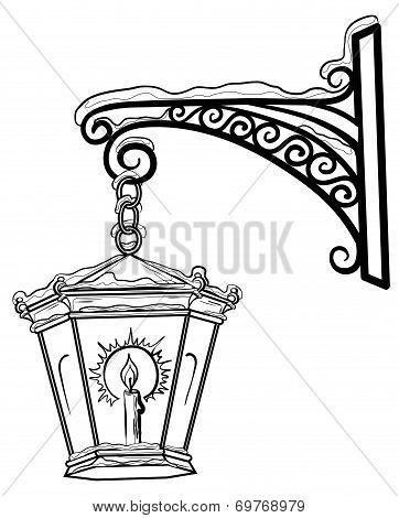 Antique lantern, contour