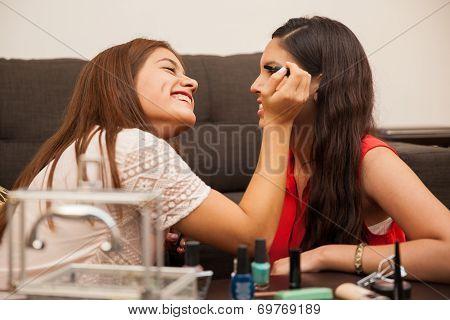 Pretty Teenagers Wearing Makeup