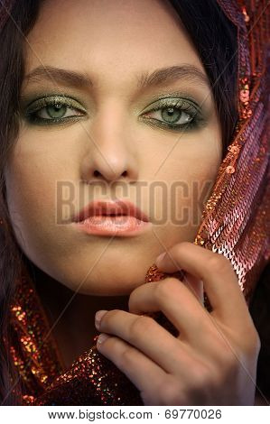 Woman Wearing Glamorous Make Up