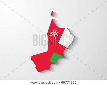 Oman Map With Shadow Effect Presentation