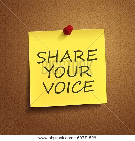 Share Your Voice Words On note