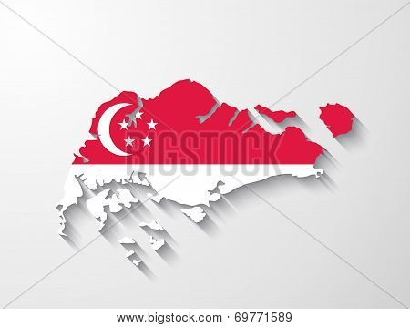 Singapore  Map With Shadow Effect Presentation