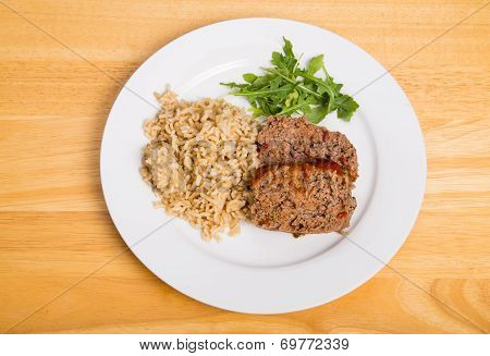Homemade Meatloaf With Brown Rice And Arugula