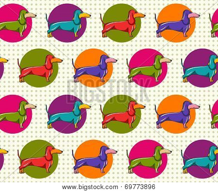 Seamless Pattern with Dachshund