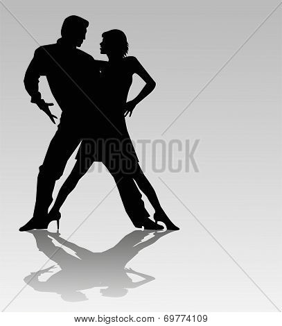 dancers on  gray background